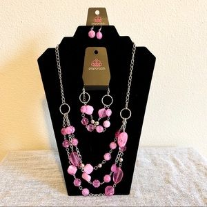 Pink Paparazzi Necklace, Bracelet and Earrings